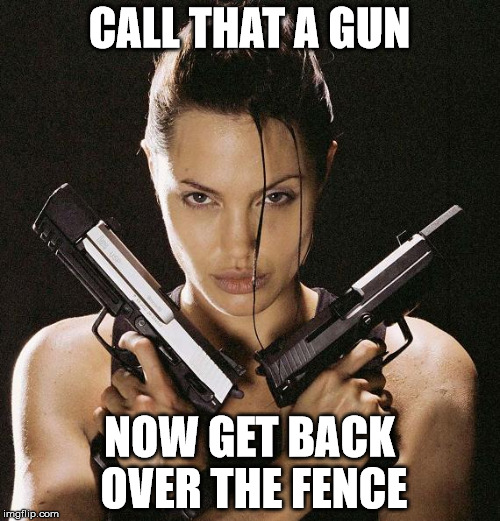 CALL THAT A GUN NOW GET BACK OVER THE FENCE | made w/ Imgflip meme maker