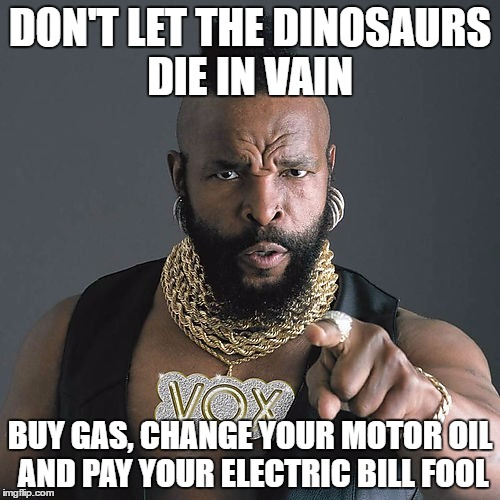 Mr. Pity the Paleontologist T |  DON'T LET THE DINOSAURS DIE IN VAIN; BUY GAS, CHANGE YOUR MOTOR OIL AND PAY YOUR ELECTRIC BILL FOOL | image tagged in memes,mr t pity the fool | made w/ Imgflip meme maker