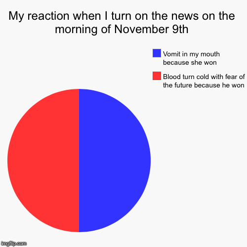 How in hell did this happen? | My reaction when I turn on the news on the morning of November 9th | Blood turn cold with fear of the future because he won, Vomit in my mou | image tagged in funny,pie charts | made w/ Imgflip pie chart maker
