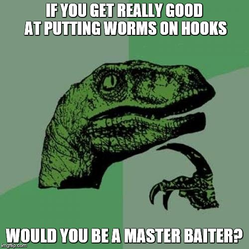 Philosoraptor Meme | IF YOU GET REALLY GOOD AT PUTTING WORMS ON HOOKS WOULD YOU BE A MASTER BAITER? | image tagged in memes,philosoraptor | made w/ Imgflip meme maker
