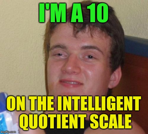 10 Guy Meme | I'M A 10 ON THE INTELLIGENT QUOTIENT SCALE | image tagged in memes,10 guy | made w/ Imgflip meme maker