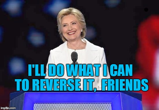 Hillary | I'LL DO WHAT I CAN TO REVERSE IT,  FRIENDS | image tagged in hillary | made w/ Imgflip meme maker