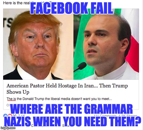 Grammar Nazis should be groveling at such a sight... | FACEBOOK FAIL WHERE ARE THE GRAMMAR NAZIS WHEN YOU NEED THEM? | image tagged in grammar nazi,facebook problems | made w/ Imgflip meme maker