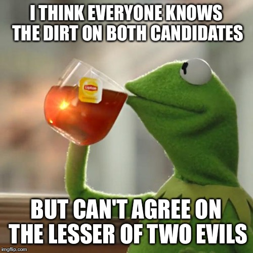 But Thats None Of My Business Meme | I THINK EVERYONE KNOWS THE DIRT ON BOTH CANDIDATES BUT CAN'T AGREE ON THE LESSER OF TWO EVILS | image tagged in memes,but thats none of my business,kermit the frog | made w/ Imgflip meme maker