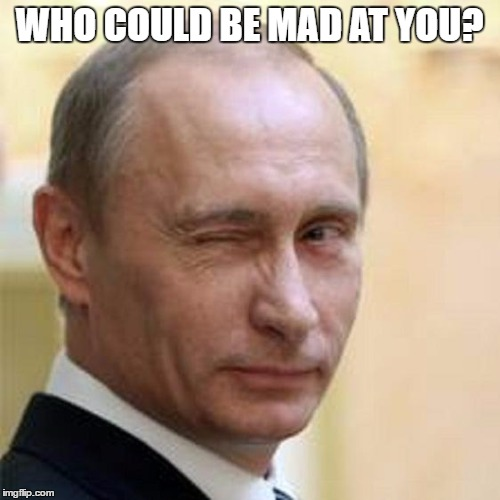 Putin Wink | WHO COULD BE MAD AT YOU? | image tagged in putin wink | made w/ Imgflip meme maker