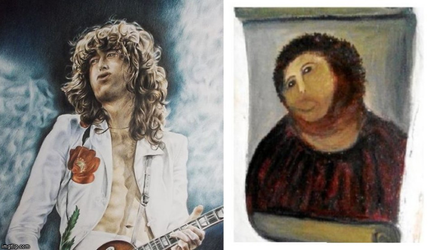 image tagged in jesus,jesus christ,jimmy page,painting,oil painting,art | made w/ Imgflip meme maker
