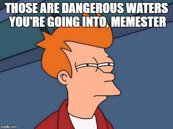 Futurama Fry Meme | THOSE ARE DANGEROUS WATERS YOU'RE GOING INTO, MEMESTER | image tagged in memes,futurama fry | made w/ Imgflip meme maker