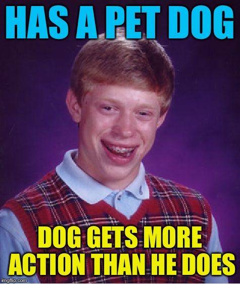 Bad Luck Brian Meme | HAS A PET DOG DOG GETS MORE ACTION THAN HE DOES | image tagged in memes,bad luck brian | made w/ Imgflip meme maker