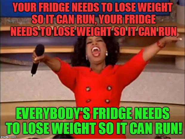 Oprah You Get A Meme | YOUR FRIDGE NEEDS TO LOSE WEIGHT SO IT CAN RUN, YOUR FRIDGE NEEDS TO LOSE WEIGHT SO IT CAN RUN EVERYBODY'S FRIDGE NEEDS TO LOSE WEIGHT SO IT | image tagged in memes,oprah you get a | made w/ Imgflip meme maker