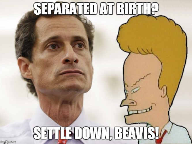 YOU SAID WEINER |  SEPARATED AT BIRTH? SETTLE DOWN, BEAVIS! | image tagged in beavis | made w/ Imgflip meme maker