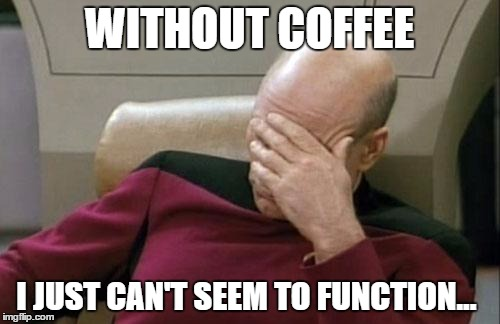 Captain Picard Facepalm Meme | WITHOUT COFFEE I JUST CAN'T SEEM TO FUNCTION... | image tagged in memes,captain picard facepalm | made w/ Imgflip meme maker
