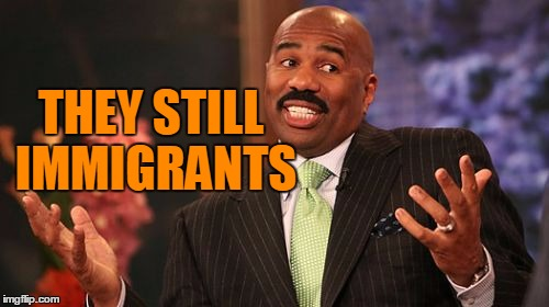 Steve Harvey Meme | THEY STILL IMMIGRANTS | image tagged in memes,steve harvey | made w/ Imgflip meme maker