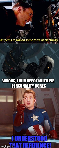 America's technological understanding |  WRONG, I RUN OFF OF MULTIPLE PERSONALITY CORES; I UNDERSTOOD THAT REFERENCE! | image tagged in captain america,glados,portal,marvel | made w/ Imgflip meme maker