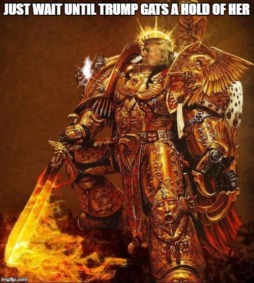 Trump Flame Warrior | JUST WAIT UNTIL TRUMP GATS A HOLD OF HER | image tagged in trump flame warrior | made w/ Imgflip meme maker
