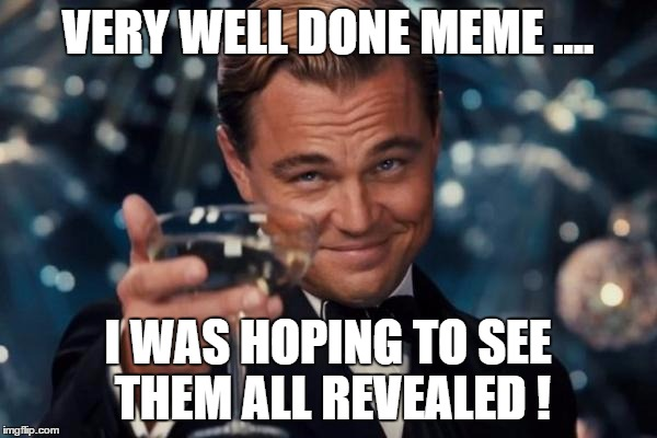 Leonardo Dicaprio Cheers Meme | VERY WELL DONE MEME .... I WAS HOPING TO SEE THEM ALL REVEALED ! | image tagged in memes,leonardo dicaprio cheers | made w/ Imgflip meme maker