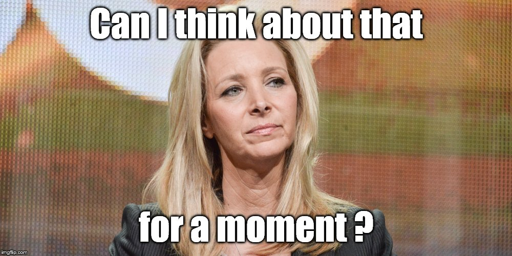 Lisa Kudrow | Can I think about that for a moment ? | image tagged in lisa kudrow | made w/ Imgflip meme maker