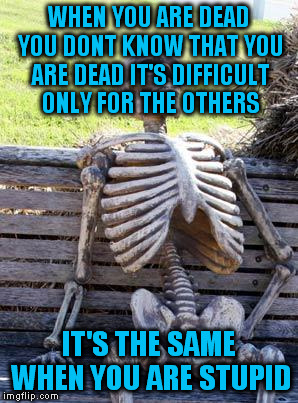 So, dead = stupid. | WHEN YOU ARE DEAD YOU DONT KNOW THAT YOU ARE DEAD IT'S DIFFICULT ONLY FOR THE OTHERS IT'S THE SAME WHEN YOU ARE STUPID | image tagged in memes,waiting skeleton | made w/ Imgflip meme maker