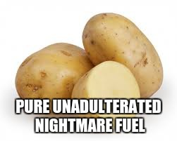 taters |  PURE UNADULTERATED NIGHTMARE FUEL | image tagged in taters,nightmare fuel,potato,derp | made w/ Imgflip meme maker