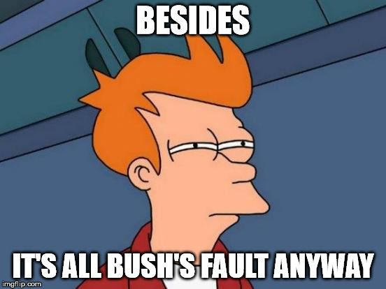 Futurama Fry Meme | BESIDES IT'S ALL BUSH'S FAULT ANYWAY | image tagged in memes,futurama fry | made w/ Imgflip meme maker