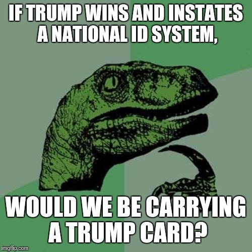 Spades, Anyone? | IF TRUMP WINS AND INSTATES A NATIONAL ID SYSTEM, WOULD WE BE CARRYING A TRUMP CARD? | image tagged in memes,philosoraptor | made w/ Imgflip meme maker