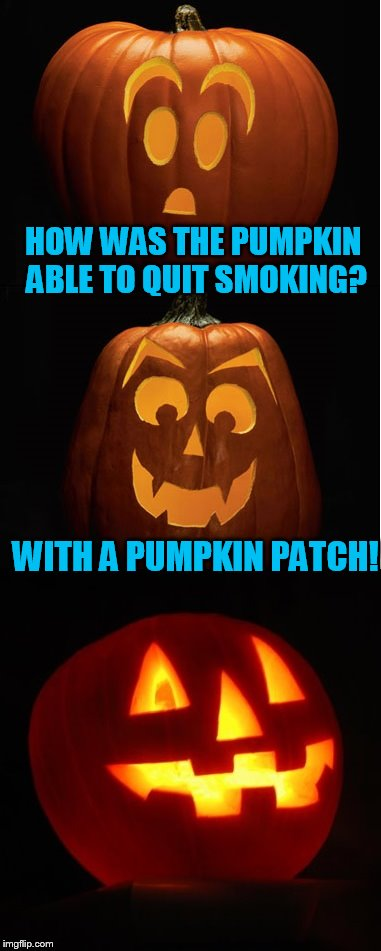 My Halloween joke for the day. With help from Dashhopes finding me the perfect bottom image! | HOW WAS THE PUMPKIN ABLE TO QUIT SMOKING? WITH A PUMPKIN PATCH! | image tagged in halloween,halloween is coming | made w/ Imgflip meme maker
