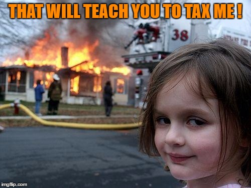 Disaster Girl Meme | THAT WILL TEACH YOU TO TAX ME ! | image tagged in memes,disaster girl | made w/ Imgflip meme maker