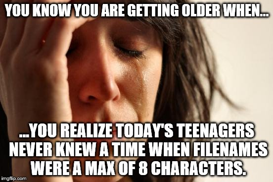 8charfln | YOU KNOW YOU ARE GETTING OLDER WHEN... ...YOU REALIZE TODAY'S TEENAGERS NEVER KNEW A TIME WHEN FILENAMES WERE A MAX OF 8 CHARACTERS. | image tagged in memes,first world problems | made w/ Imgflip meme maker