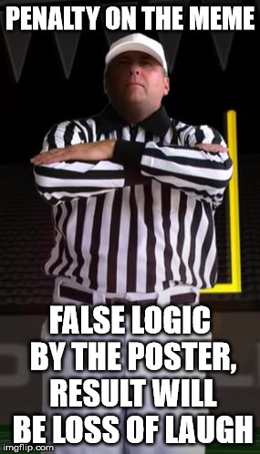 Referee | PENALTY ON THE MEME FALSE LOGIC BY THE POSTER, RESULT WILL BE LOSS OF LAUGH | image tagged in referee | made w/ Imgflip meme maker