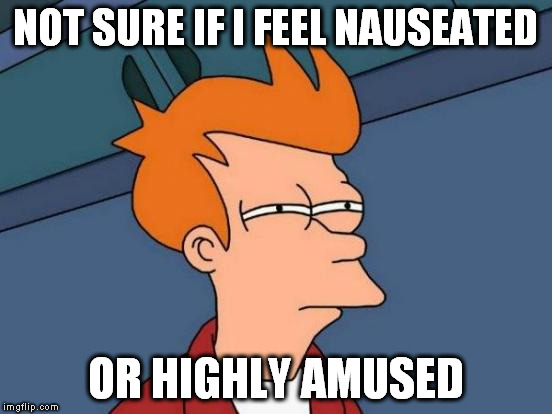 Futurama Fry Meme | NOT SURE IF I FEEL NAUSEATED OR HIGHLY AMUSED | image tagged in memes,futurama fry | made w/ Imgflip meme maker