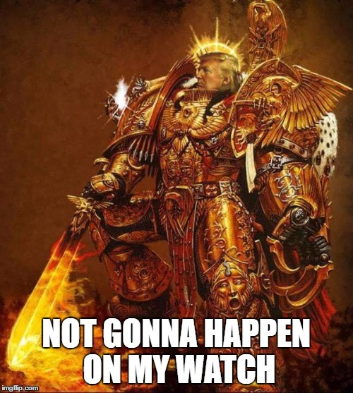 Trump Flame Warrior | NOT GONNA HAPPEN ON MY WATCH | image tagged in trump flame warrior | made w/ Imgflip meme maker