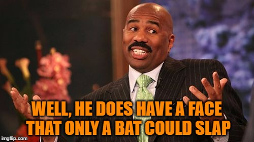 Steve Harvey Meme | WELL, HE DOES HAVE A FACE THAT ONLY A BAT COULD SLAP | image tagged in memes,steve harvey | made w/ Imgflip meme maker