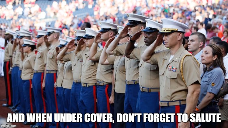 AND WHEN UNDER COVER, DON'T FORGET TO SALUTE | made w/ Imgflip meme maker