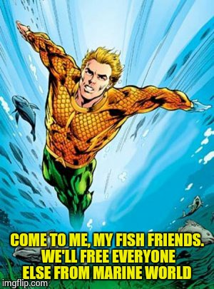 COME TO ME, MY FISH FRIENDS. WE'LL FREE EVERYONE ELSE FROM MARINE WORLD | made w/ Imgflip meme maker
