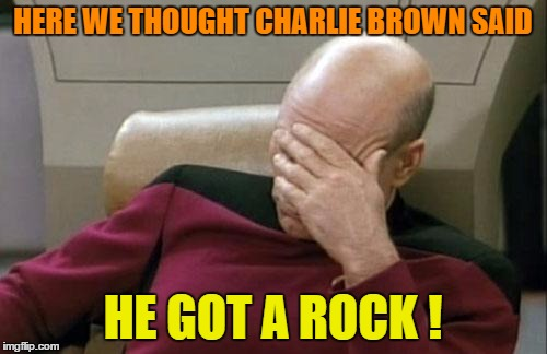 Captain Picard Facepalm Meme | HERE WE THOUGHT CHARLIE BROWN SAID HE GOT A ROCK ! | image tagged in memes,captain picard facepalm | made w/ Imgflip meme maker