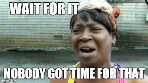 Aint Nobody Got Time For That Meme | WAIT FOR IT NOBODY GOT TIME FOR THAT | image tagged in memes,aint nobody got time for that | made w/ Imgflip meme maker