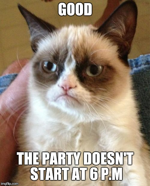 Grumpy Cat Meme | GOOD THE PARTY DOESN'T START AT 6 P.M | image tagged in memes,grumpy cat | made w/ Imgflip meme maker