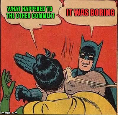 Batman Slapping Robin Meme | WHAT HAPPENED TO THE OTHER COMMENT IT WAS BORING | image tagged in memes,batman slapping robin | made w/ Imgflip meme maker