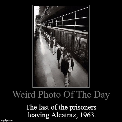 Nicknamed Uncle Sam's Devil's Island | Weird Photo Of The Day | The last of the prisoners leaving Alcatraz, 1963. | image tagged in funny,demotivationals,weird,photo of the day,prisoners,alcatraz | made w/ Imgflip demotivational maker