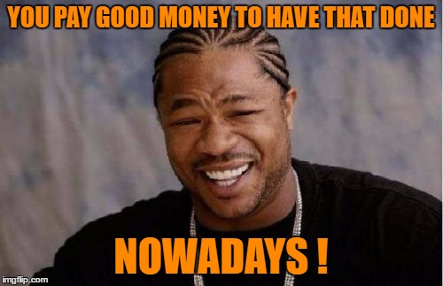 Yo Dawg Heard You Meme | YOU PAY GOOD MONEY TO HAVE THAT DONE NOWADAYS ! | image tagged in memes,yo dawg heard you | made w/ Imgflip meme maker