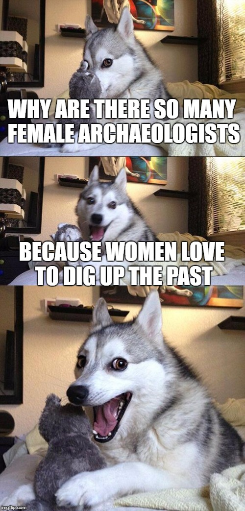 Bad Pun Dog | WHY ARE THERE SO MANY FEMALE ARCHAEOLOGISTS BECAUSE WOMEN LOVE TO DIG UP THE PAST | image tagged in memes,bad pun dog | made w/ Imgflip meme maker