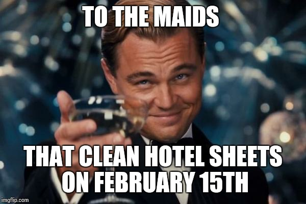 Leonardo Dicaprio Cheers Meme | TO THE MAIDS THAT CLEAN HOTEL SHEETS ON FEBRUARY 15TH | image tagged in memes,leonardo dicaprio cheers | made w/ Imgflip meme maker