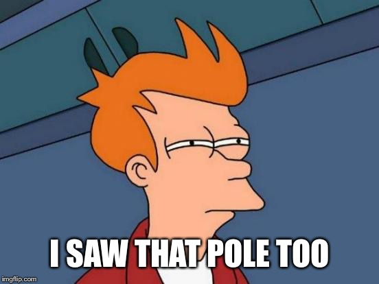 Futurama Fry Meme | I SAW THAT POLE TOO | image tagged in memes,futurama fry | made w/ Imgflip meme maker