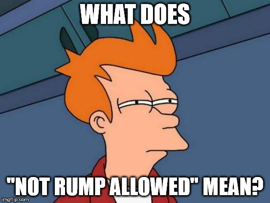 "Futurama Fry Meme | WHAT DOES ""NOT RUMP ALLOWED"" MEAN? 