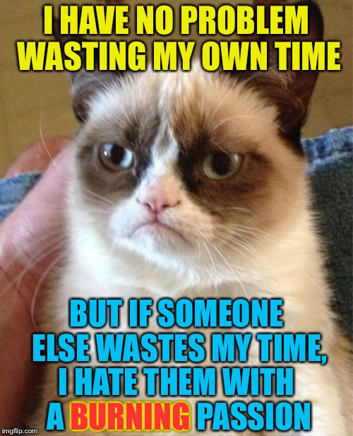 Pyromaniac Grumpy Cat | I HAVE NO PROBLEM WASTING MY OWN TIME BUT IF SOMEONE ELSE WASTES MY TIME, I HATE THEM WITH A BURNING PASSION BURNING | image tagged in memes,grumpy cat,hate,burning,fire,funny | made w/ Imgflip meme maker