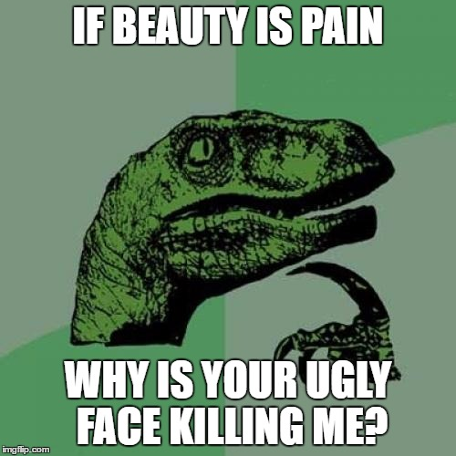 Philosoraptor Meme | IF BEAUTY IS PAIN WHY IS YOUR UGLY FACE KILLING ME? | image tagged in memes,philosoraptor | made w/ Imgflip meme maker