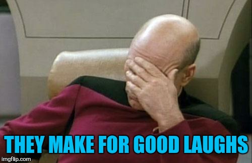 Captain Picard Facepalm Meme | THEY MAKE FOR GOOD LAUGHS | image tagged in memes,captain picard facepalm | made w/ Imgflip meme maker