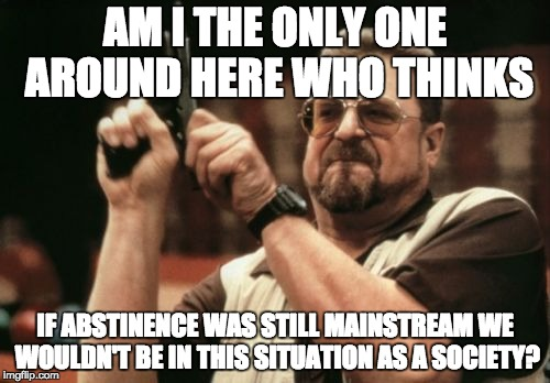 Am I The Only One Around Here | AM I THE ONLY ONE AROUND HERE WHO THINKS IF ABSTINENCE WAS STILL MAINSTREAM WE WOULDN'T BE IN THIS SITUATION AS A SOCIETY? | image tagged in memes,am i the only one around here,abstinence,sex,society | made w/ Imgflip meme maker