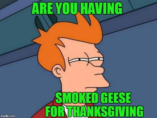 Futurama Fry Meme | ARE YOU HAVING SMOKED GEESE FOR THANKSGIVING | image tagged in memes,futurama fry | made w/ Imgflip meme maker