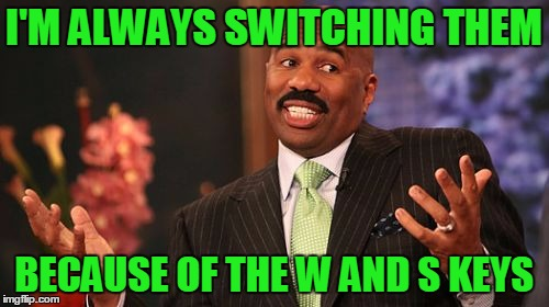 Steve Harvey Meme | I'M ALWAYS SWITCHING THEM BECAUSE OF THE W AND S KEYS | image tagged in memes,steve harvey | made w/ Imgflip meme maker