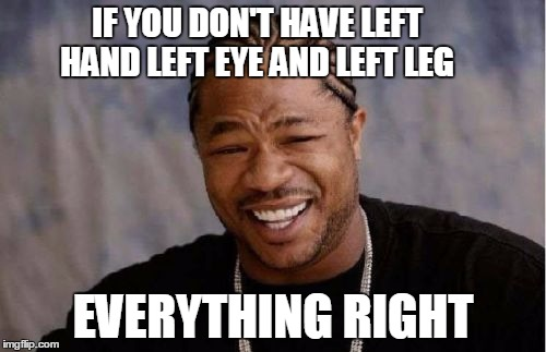 reality | IF YOU DON'T HAVE LEFT HAND LEFT EYE AND LEFT LEG EVERYTHING RIGHT | image tagged in memes,yo dawg heard you | made w/ Imgflip meme maker